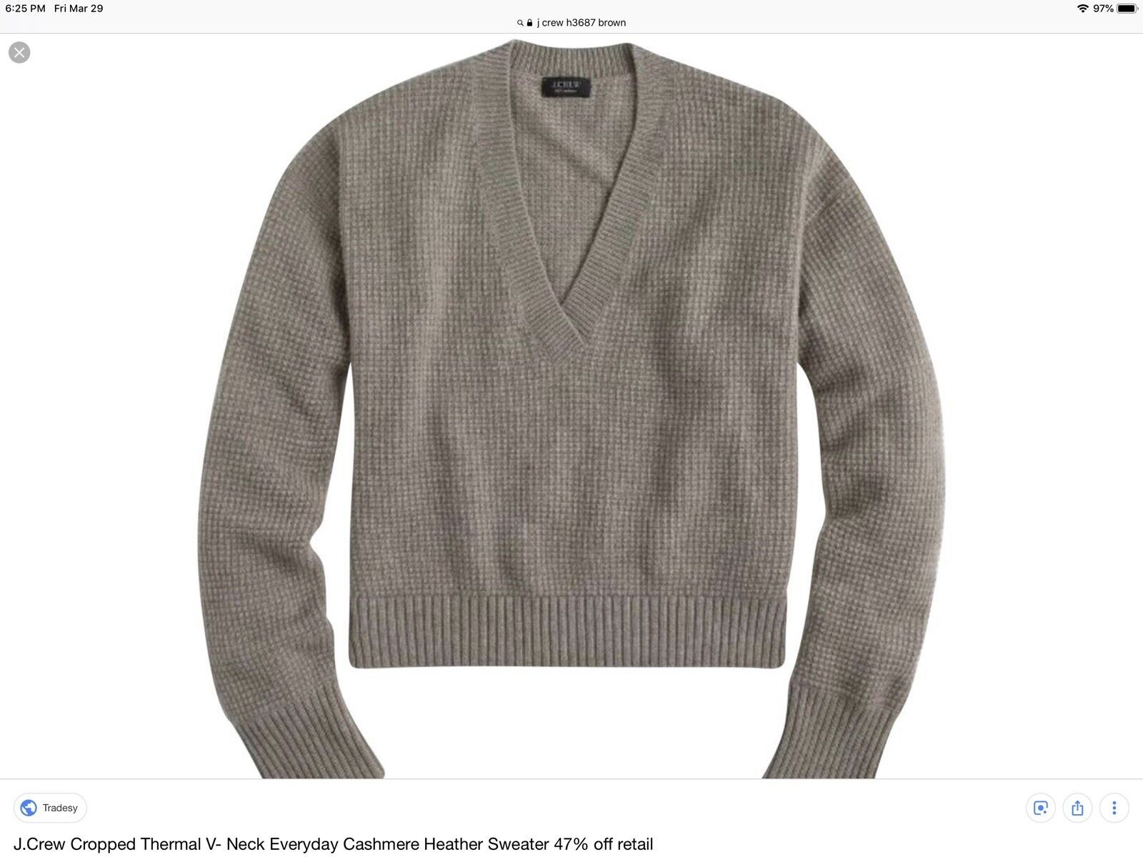 everyday in sweater V neck Cropped Crew J. NWT cashmere