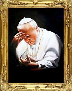 Religion-Pope-Johannes-Paul-2-Handmade-Oil-Painting-Oil-Frame-Pictures-G01720