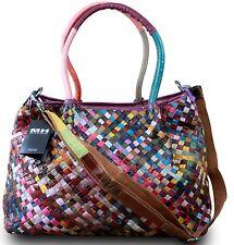 MADE in Italy da donna a tracolla shopper bag vera pelle retro INTRECCIATO COLORATO
