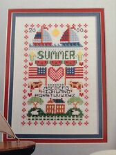 Summer Sampler counted cross stitch magazine pattern, fabric & floss lot