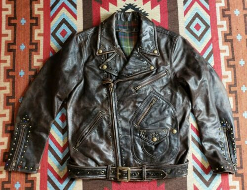 Distressed Studded Leather Motorcycle Jacket RRL