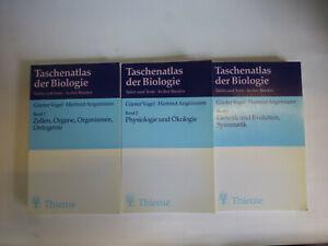 3x Taschenatlas der Biologie, Band 1, 2 und 3: Zellen, Physiologie, Genetik