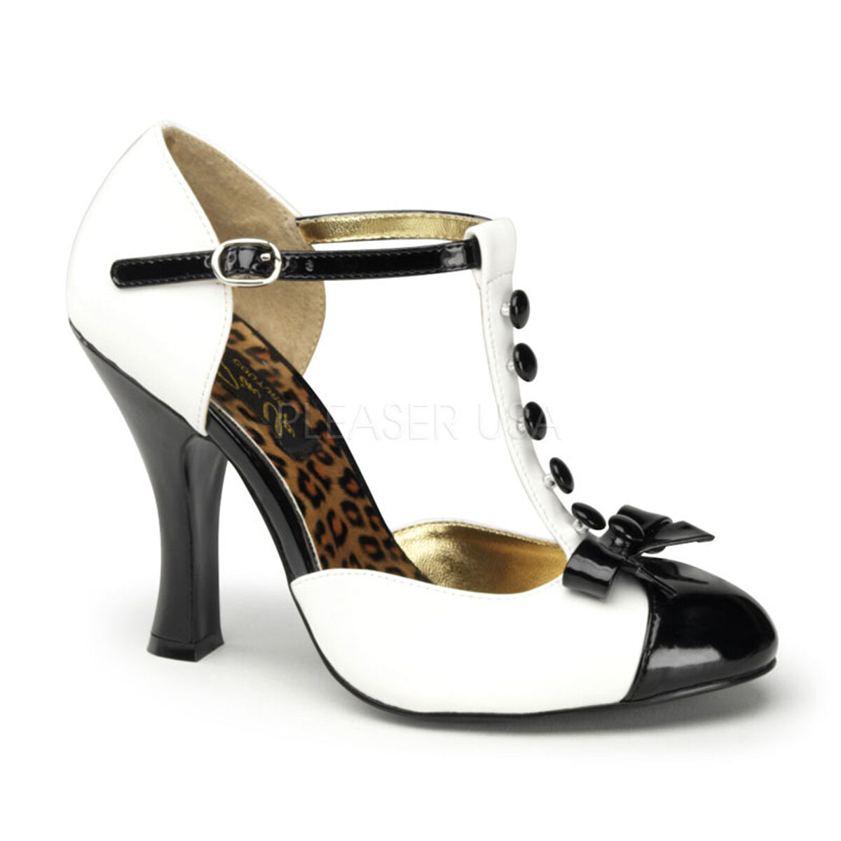 Pinup Couture SMITTEN-10 sexy T-Strap D'orsay Pump