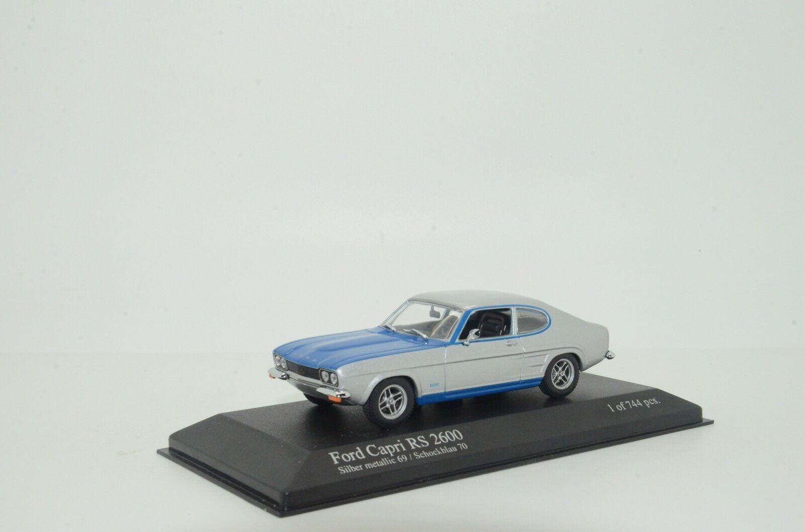 Rara Ford Capri RS 2600 1972 plata azul Minichamps 85805 1 43