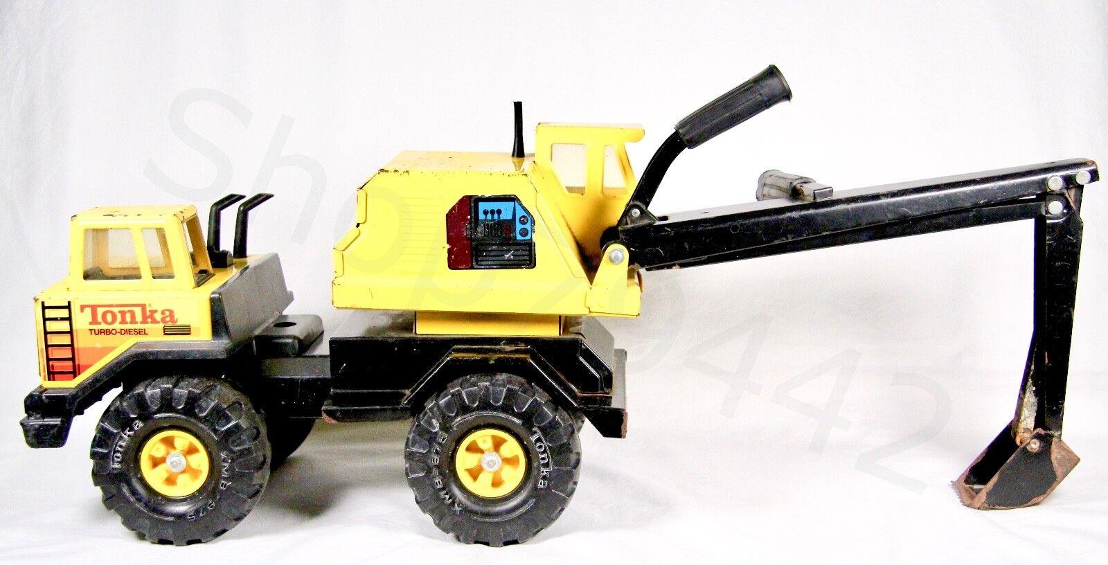 Vintage TONKA Metal Excavator Yellow Turbo Diesel Pressed Steel Handles Gift