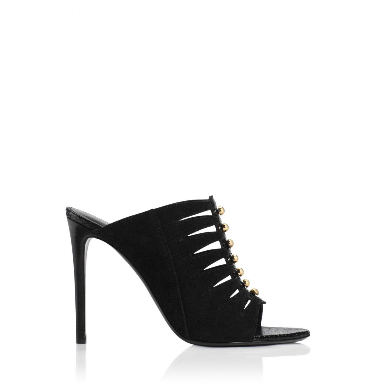 Tamara Mellon Negro Tribal ante Zapatos sin Talón 105MM Tacones Tacones Tacones Nuevo  barato en alta calidad