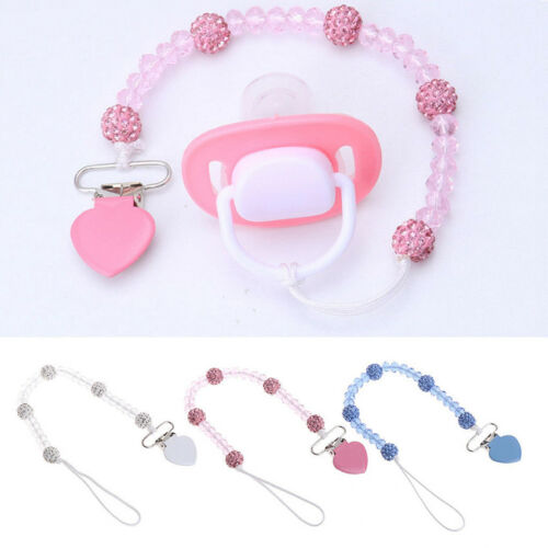 Baby Pacifier Clips Heart-shaped Crystal Soother Chain Dummy Leash Strap Nipple