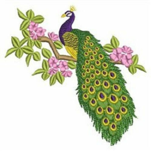 PEACOCK FLORAL BEAUTY EMBROIDERED SET OF 2 BATHROOM HAND TOWELS by laura