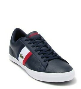 Lacoste-Lerond-119-Leather-Lace-Up-Navy-Red-White-Fashion-Sneaker-Men-039-s-9-M