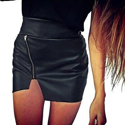 Minigonna gonna vita alta eco pelle con zip PU leather high waist mini skirt