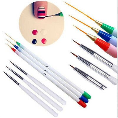 6PCS French Manicure Nail Art Pen Brush Set Painting Drawing Liner Striping Tool