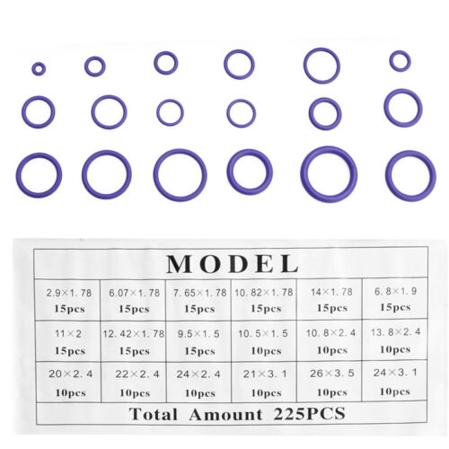 225Pcs Seal O-ring R22 R134a Air Conditioning O-Ring Rubber Washer Assortment PL
