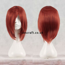 Short medium straight layered cosplay wig in muted red, UK SELLER, Lily style