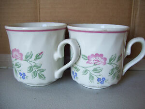 BRIAR-ROSE-by-CHURCHILL-2-Coffee-Tea-Mug-Cups-Made-In-STAFFORDSHIRE-ENGLAND