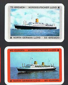 Playing Swap Cards 2 GENUINE  VINT SHIPPING//STEAMSHIP S S BREMEN #203 EUROPEAN