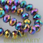 New 30pcs 8X6mm Rondelle Faceted Loose Spacer Glass Beads Bulk Colorized Plated