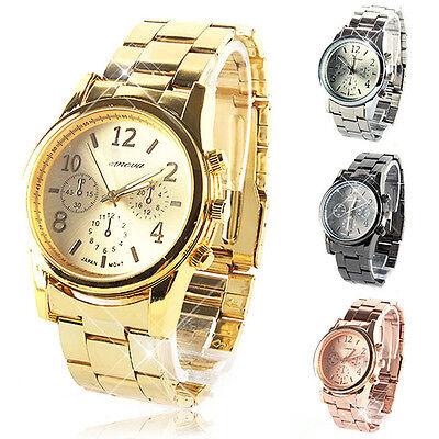 New Silver Rose Gold Women Girl Unisex Stainless Steel Quartz Wrist Watch