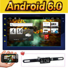 GPS Nav Android 6.0 Double Din Car Stereo Radio Player Wifi MP3 HD BT No DVD+CAM