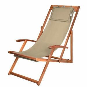 Sedie Sdraio Per Terrazzo.Sedia A Sdraio In Legno Per Spiaggia Pieghevole Giardino Piscina