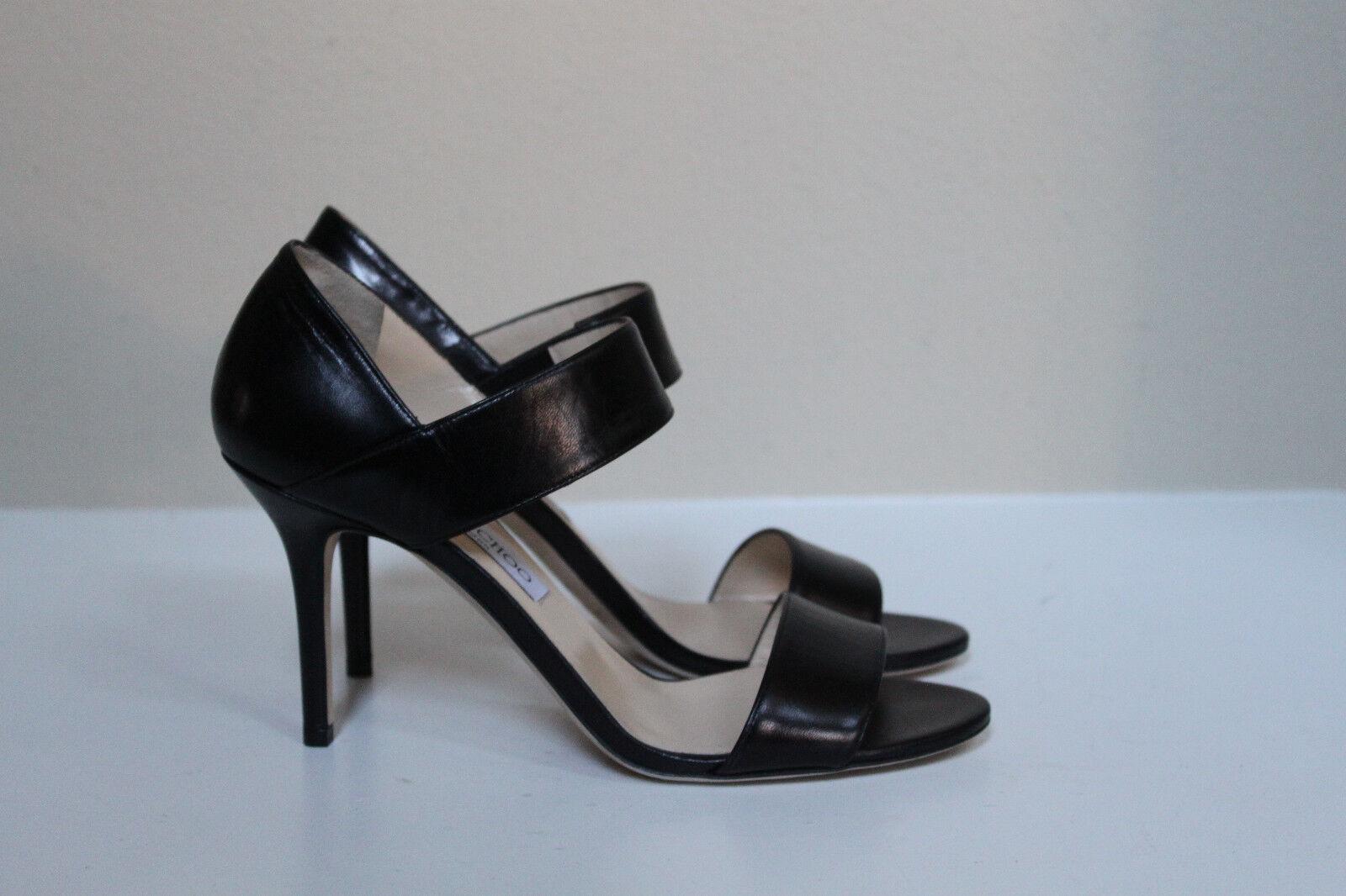 Nuevas Talla 9.5 9.5 9.5 39.5 Jimmy Choo Tesoro Negro Cuero Sandalia Tacón Zapatos Puntera Abierta  genuina alta calidad