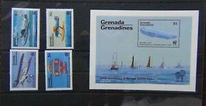 Grenada-GRENADINES-1983-BICENTENARIO-DEL-VOLO-con-equipaggio-Set-amp-in-miniatura-foglio-Gomma