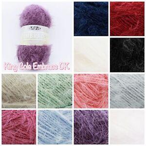 King-Cole-Embrace-DK-Soft-Fluffy-Eyelash-Knitting-Yarn-Premium-Acrylic-100g