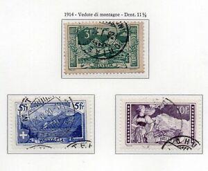 1914-SVIZZERA-VEDUTE-DI-MONTAGNA-SERIE-COMPLETA-3-VAL-USATI-UNIF-N-142-44