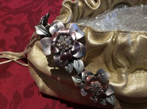 Leather Flower W o Work With Karen Tags Gold Bag New Genuine Metal Millen wqF0aE
