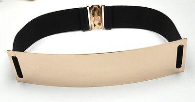 Wide Obi Band Elastic Mirror Metal Waist Belt Leather Metallic Bling Gold Plate