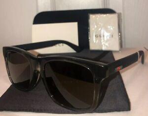 3c7cf24858 NEW Gucci GG0008SA Square Sunglasses 004 Black W  Web Stripe   Case ...