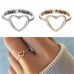 Women-039-s-Love-Heart-Best-Friend-Ring-Promise-Jewelry-Friendship-Rings-Bands-Gift