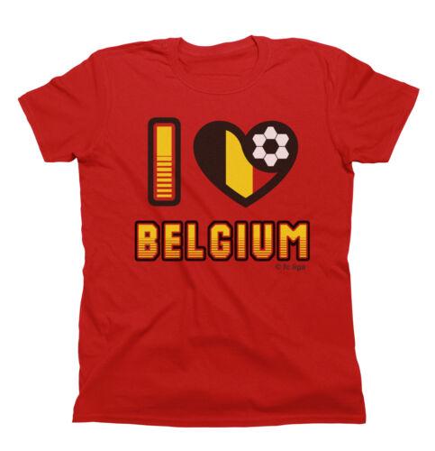 I LOVE BELGIUM T-Shirt WORLD CUP 2018 Mens Ladies or Kids Football Family Flag