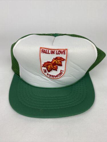 Vintage Fall In Love In Vermont Green Trucker Hat