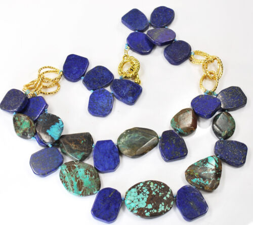 """Natural Blue Turquoise /& Lapis Nugget Beads Hand Knotted Gold Necklace 20.5/"""""""
