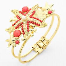 Gold Coral and Pearl Starfish Hinged Bangle