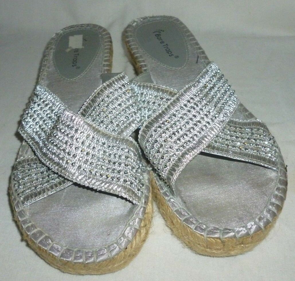 Bare Traps Silver Slides Beaded Slides Silver Size 8.5M b68b64