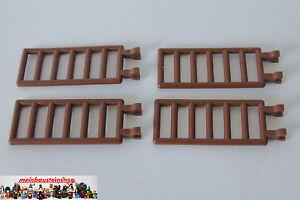 4X-Lego-6020-Piraten-Castle-Leiter-Gitter-Zaun-Ladder-7X3-m-Clip-altes-Braun