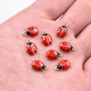10PC-Cute-Ladybird-Enamel-Charm-Pendant-11-9-MM-For-DIY-Earrings-Bracelet