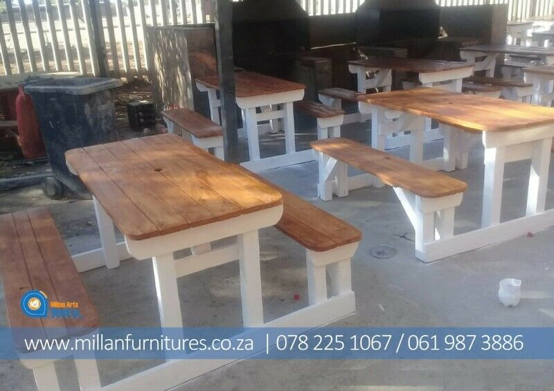 STRONG SOLID  ATTACHED RESTAURANTS  TABLES AND BENCHES.