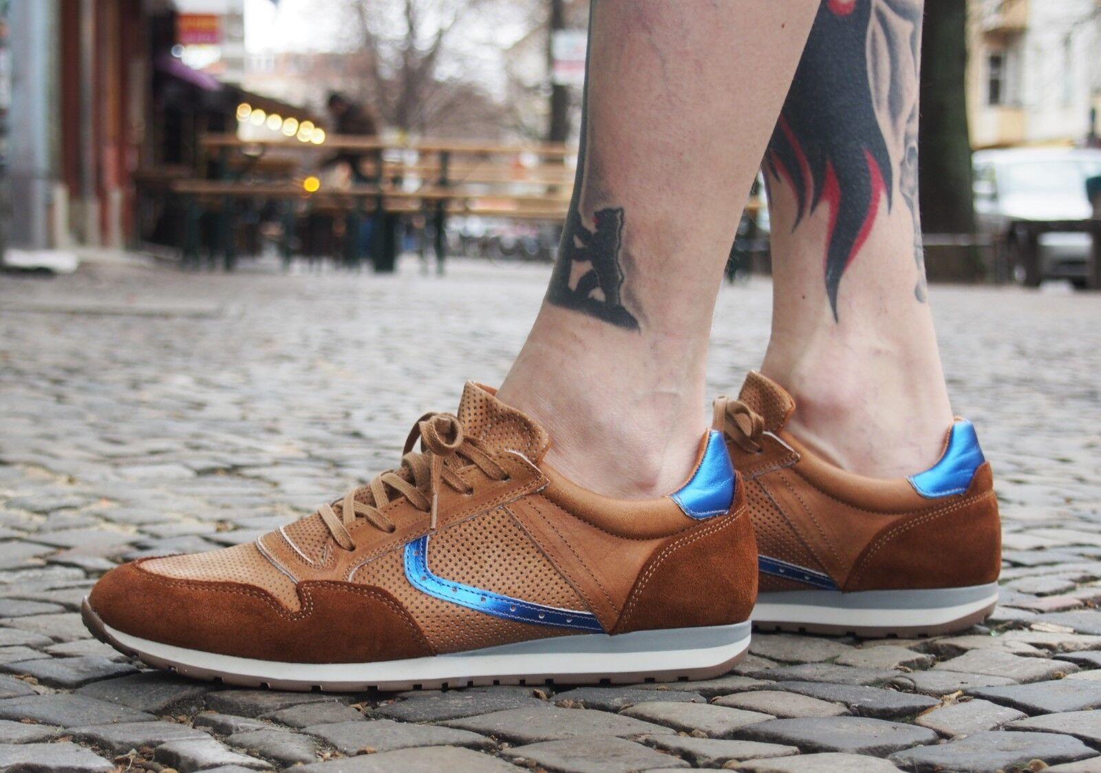 COXX BORBA Herrenschuhe Jogger Camel Herrenschuhe Echtleder Sneakers NEU Braun