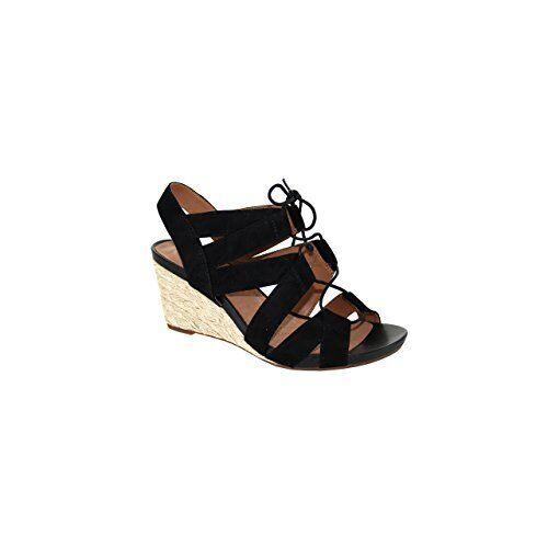 Clarks Artisan Acina Chester Wedge Sandals Black Suede 26126450