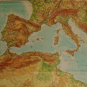 Wandkarte Mittelmeer Afrika Europa 265x147cm 1976 vintage ...