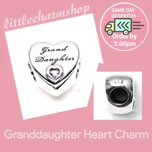 New-Authentic-Genuine-PANDORA-Silver-Granddaughter-Heart-Charm-796261PCZ