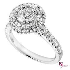 1.10 Cart Double Halo Set Round Cut Diamond Engagement Ring 14k White Gold