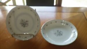 Seyei Fine China fruit Bowls Japan Teresa service 2 #3536 EUC platinum trim