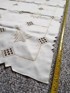 Vintage Embroidered Cross Stitch Christmas Tablecloth Tea Table Linen Germany Ebay