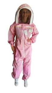 OZ-ARMOUR-Pink-Poly-Cotton-Semi-Ventilated-Beekeeping-Suit-With-Fencing-Veil