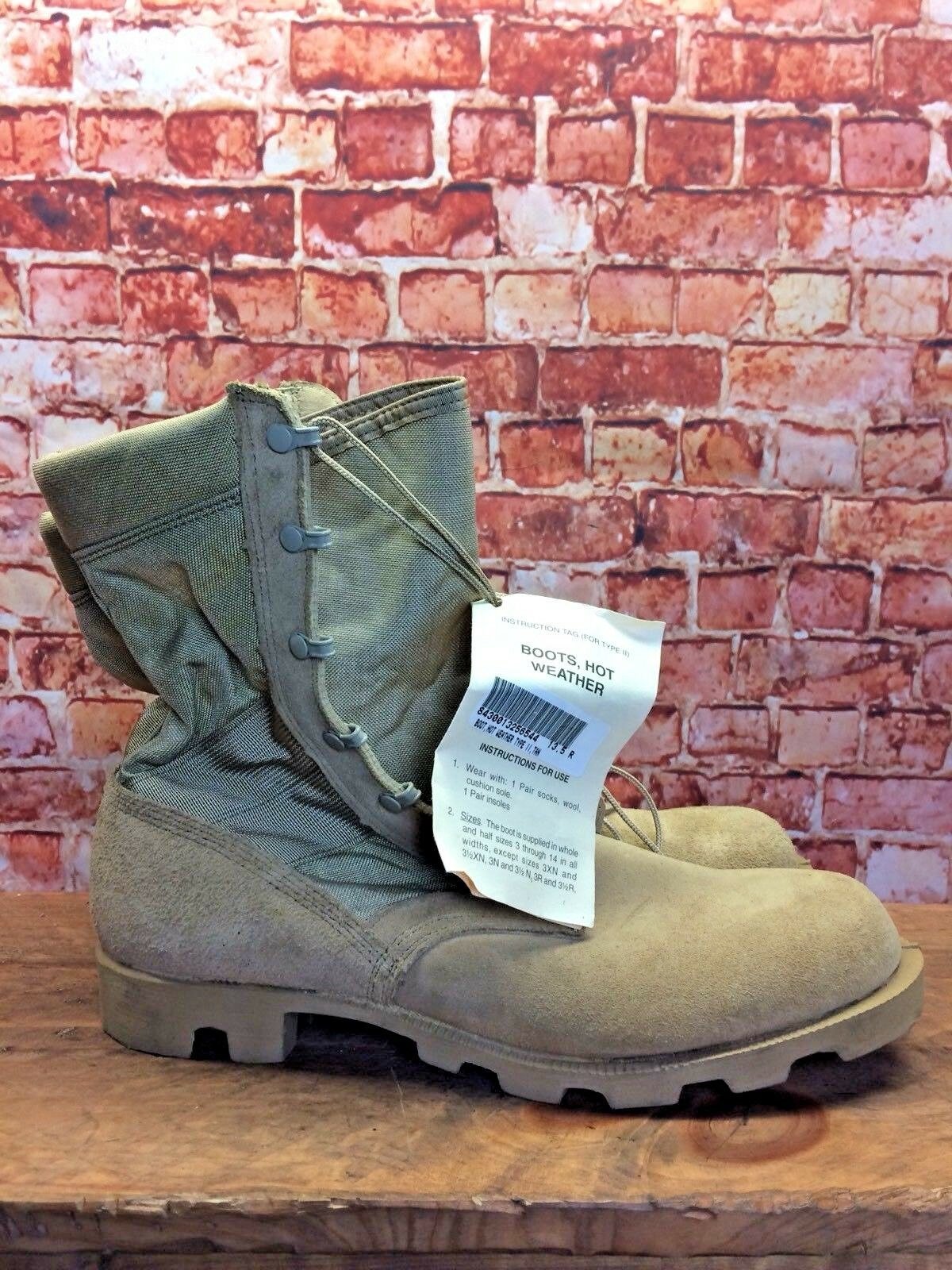 NEW WITH TAGS Men's Military Hot Weather Combat Boots Leather 13 R Made In USA