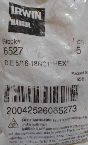 Pack of 5  IRWIN HANSON 6527 Hex Thread Die High Carbon Steel RH 5//16-18 NC1