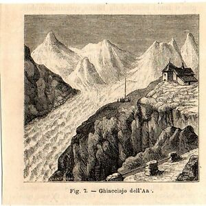 Stampa-antica-ghiacciaio-dell-039-Aar-Berna-Svizzera-1889-Old-Print-Switzerland